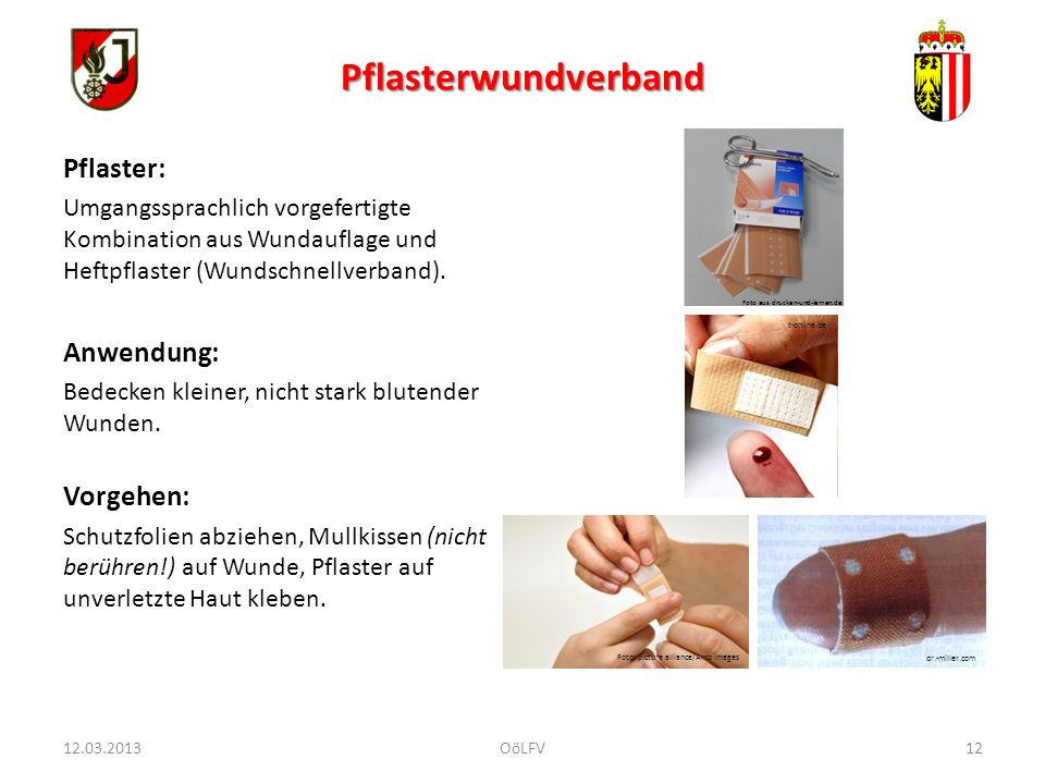 Pflasterwundverband Pflaster: Anwendung: Vorgehen: