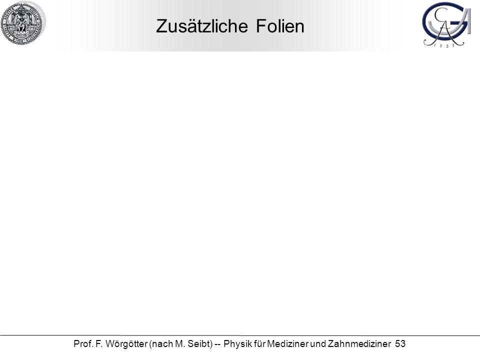 Zusätzliche Folien Prof. F. Wörgötter (nach M. Seibt) -- Physik für Mediziner und Zahnmediziner 53