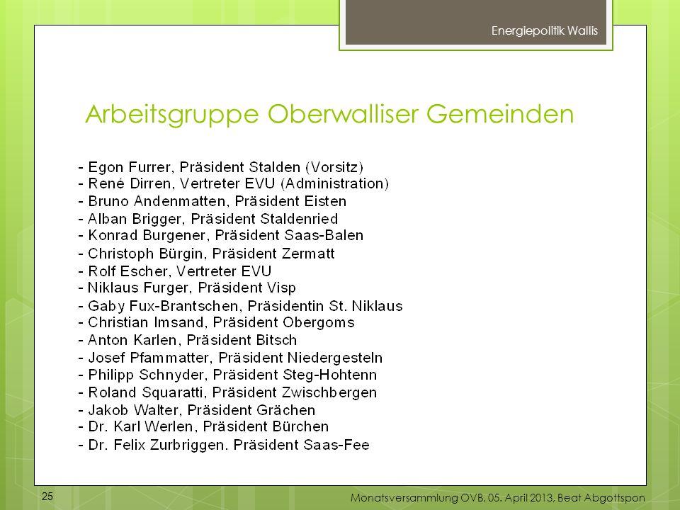 Arbeitsgruppe Oberwalliser Gemeinden