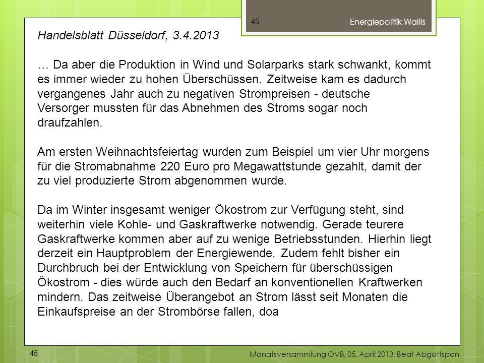Handelsblatt Düsseldorf, 3.4.2013