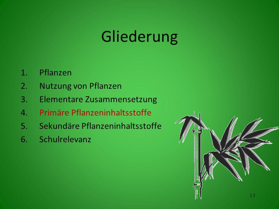 Gliederung Pflanzen Nutzung von Pflanzen Elementare Zusammensetzung