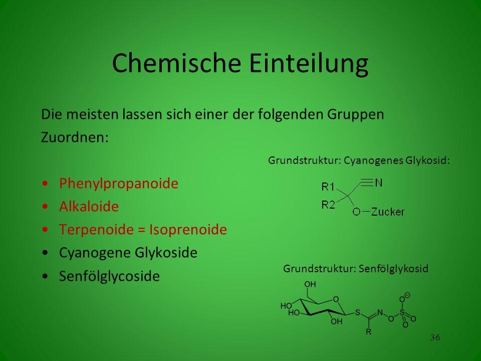 Chemische Einteilung Die meisten lassen sich einer der folgenden Gruppen. Zuordnen: Phenylpropanoide.
