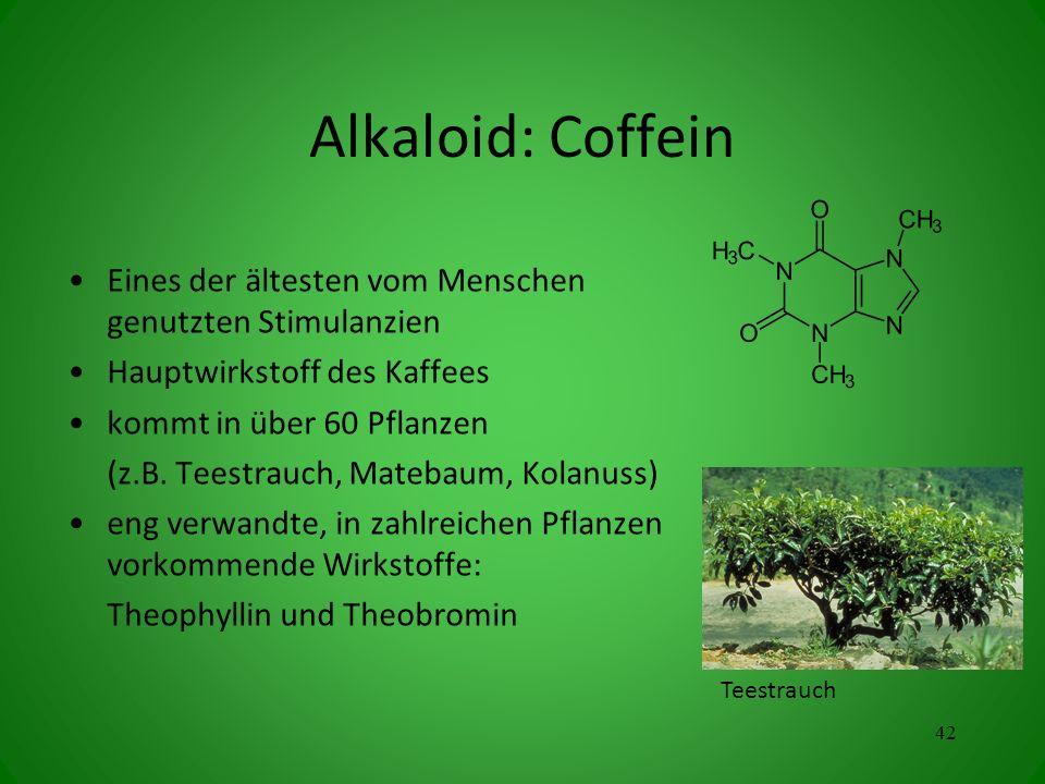 Alkaloid: Coffein Eines der ältesten vom Menschen genutzten Stimulanzien. Hauptwirkstoff des Kaffees.