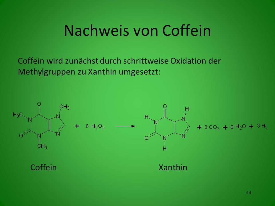 Nachweis von Coffein Coffein wird zunächst durch schrittweise Oxidation der Methylgruppen zu Xanthin umgesetzt: