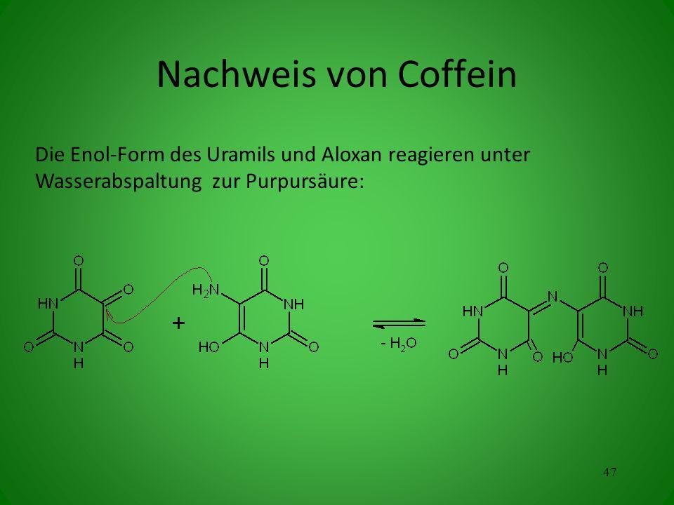 Nachweis von Coffein Die Enol-Form des Uramils und Aloxan reagieren unter Wasserabspaltung zur Purpursäure: