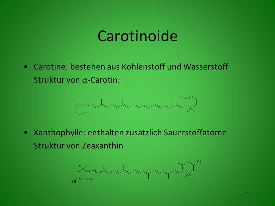 Carotinoide Carotine: bestehen aus Kohlenstoff und Wasserstoff