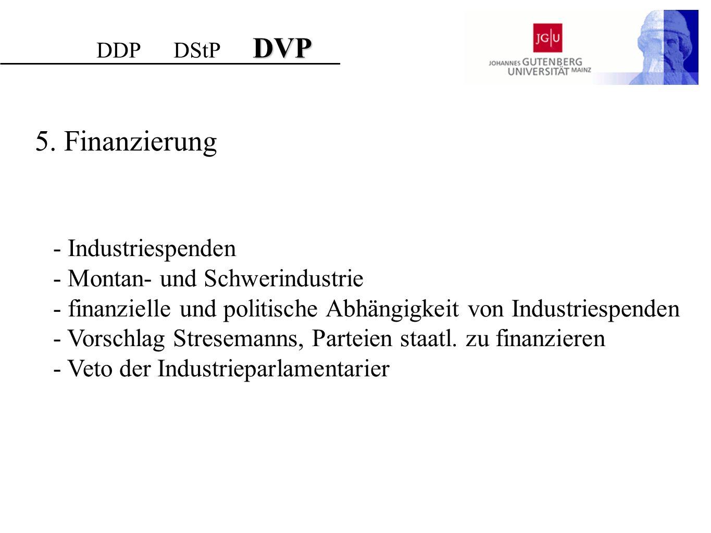 5. Finanzierung - Industriespenden - Montan- und Schwerindustrie