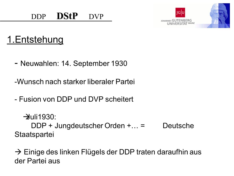1.Entstehung Neuwahlen: 14. September 1930 DDP DStP DVP