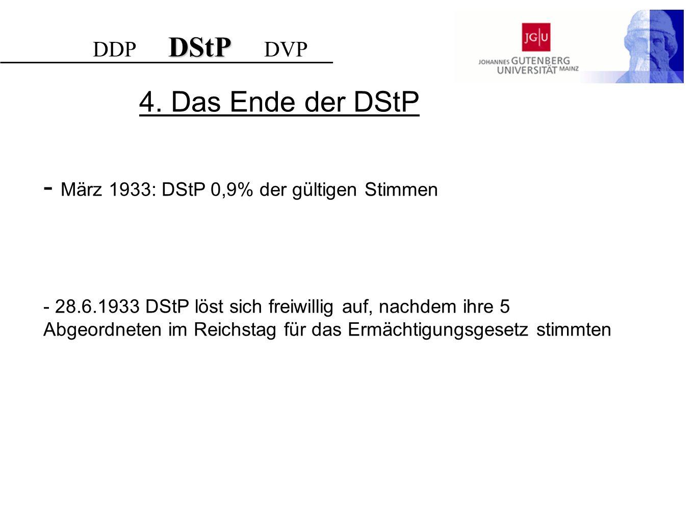 - März 1933: DStP 0,9% der gültigen Stimmen