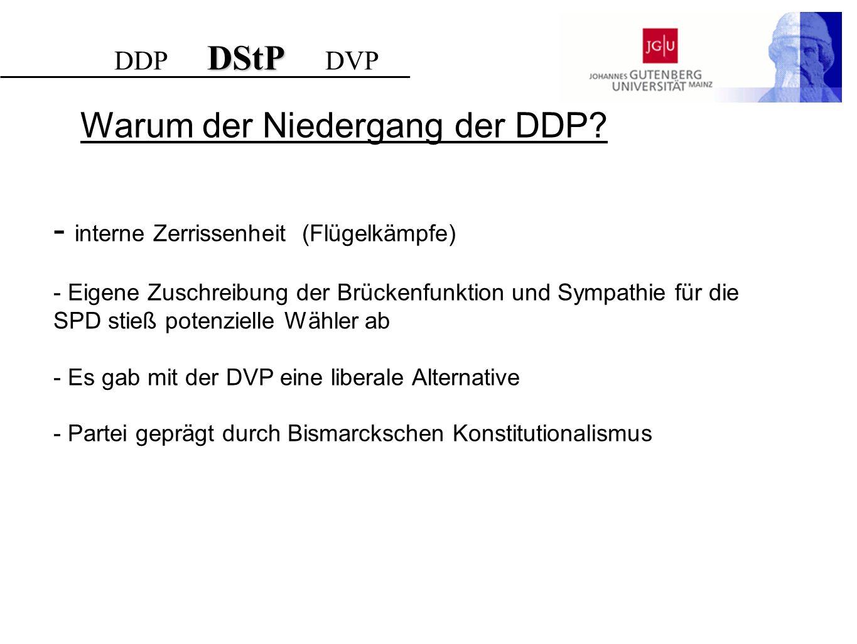 Warum der Niedergang der DDP