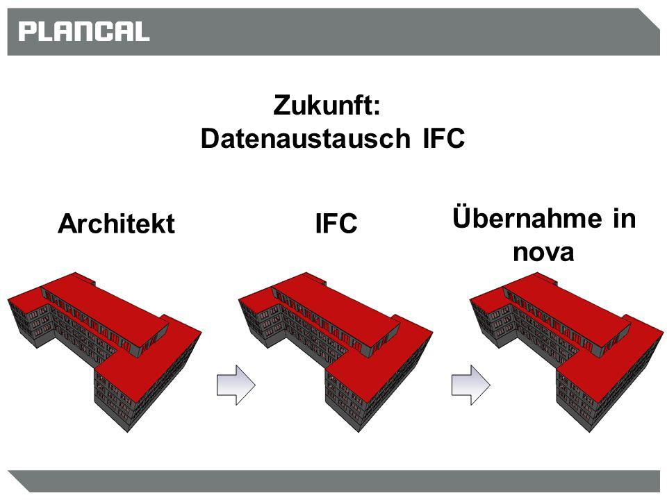 Zukunft: Datenaustausch IFC Architekt IFC Übernahme in nova