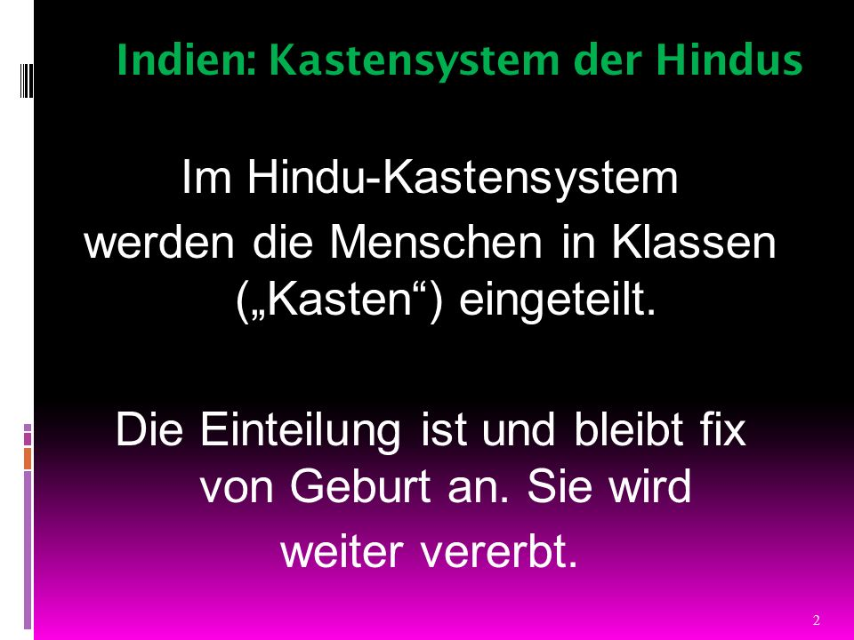 Indien: Kastensystem der Hindus