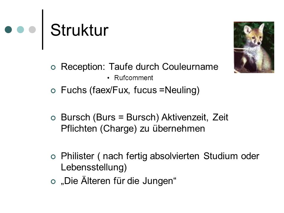 Struktur Reception: Taufe durch Couleurname