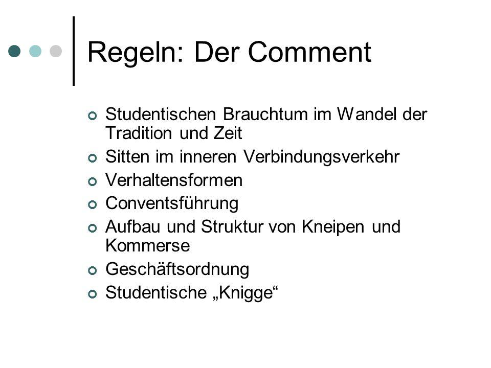 Regeln: Der Comment Studentischen Brauchtum im Wandel der Tradition und Zeit. Sitten im inneren Verbindungsverkehr.