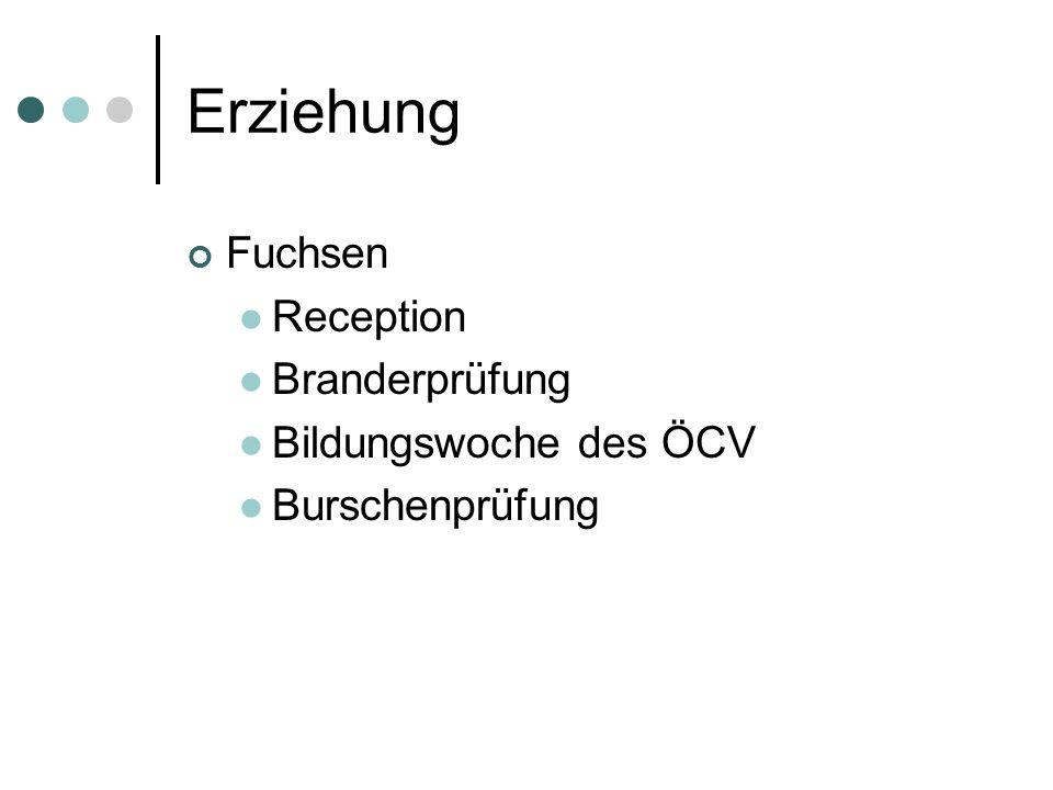 Erziehung Fuchsen Reception Branderprüfung Bildungswoche des ÖCV