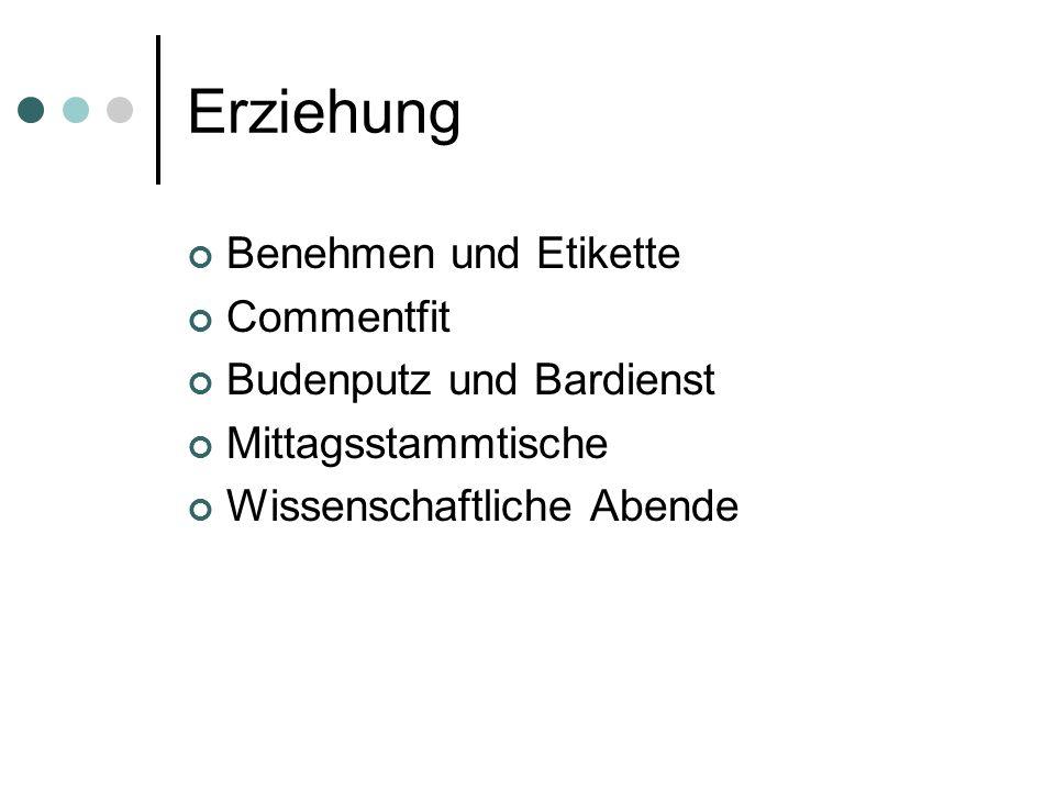 Erziehung Benehmen und Etikette Commentfit Budenputz und Bardienst