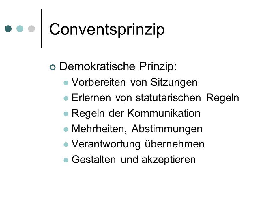 Conventsprinzip Demokratische Prinzip: Vorbereiten von Sitzungen