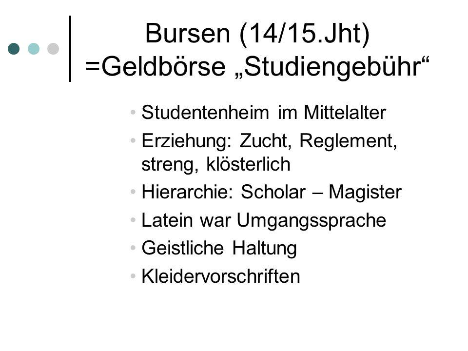 """Bursen (14/15.Jht) =Geldbörse """"Studiengebühr"""