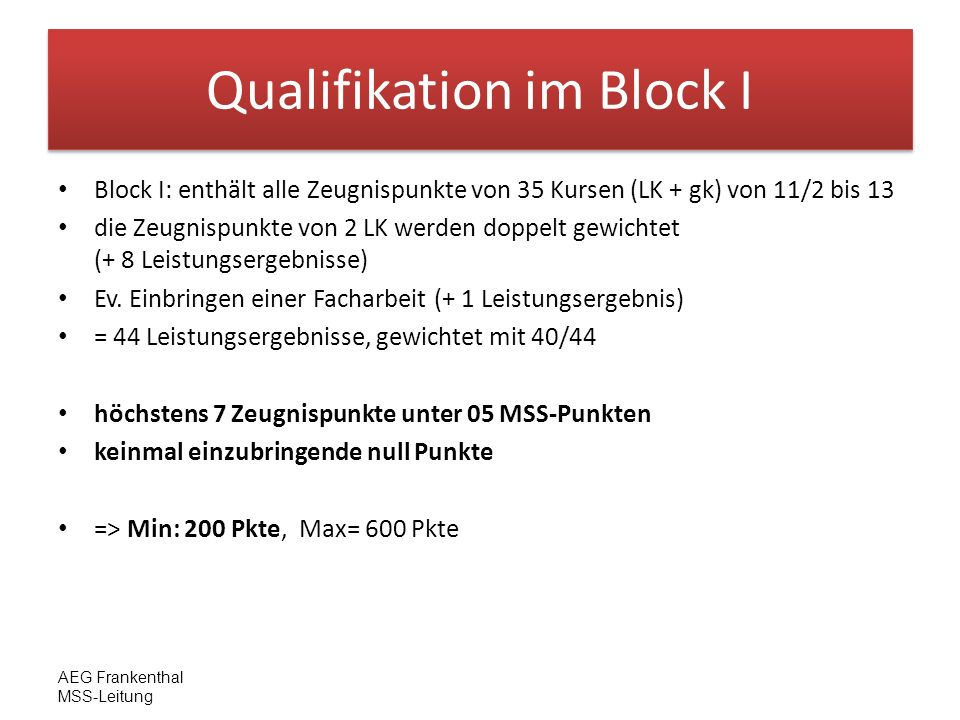 Qualifikation im Block I