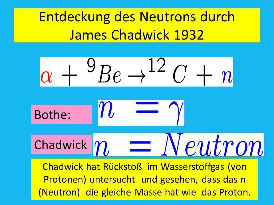 Entdeckung des Neutrons durch James Chadwick 1932