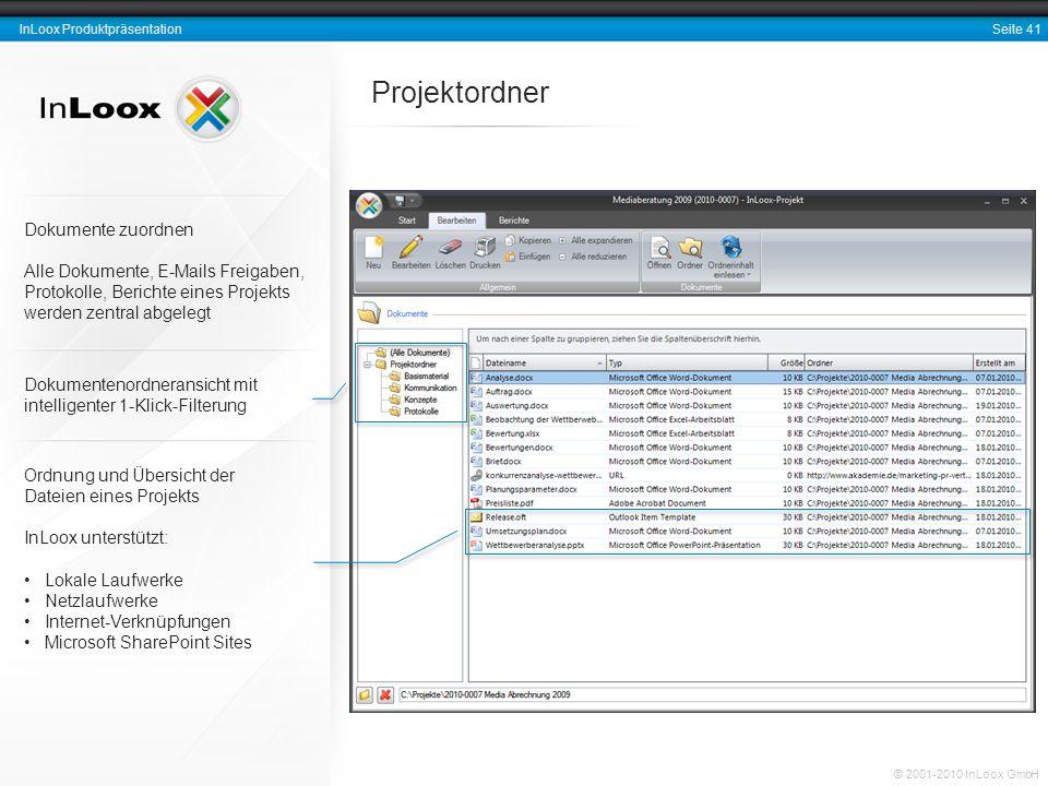 Projektordner Dokumente zuordnen Alle Dokumente, E-Mails Freigaben,