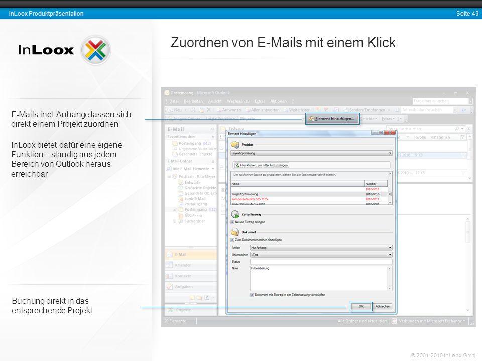 Zuordnen von E-Mails mit einem Klick