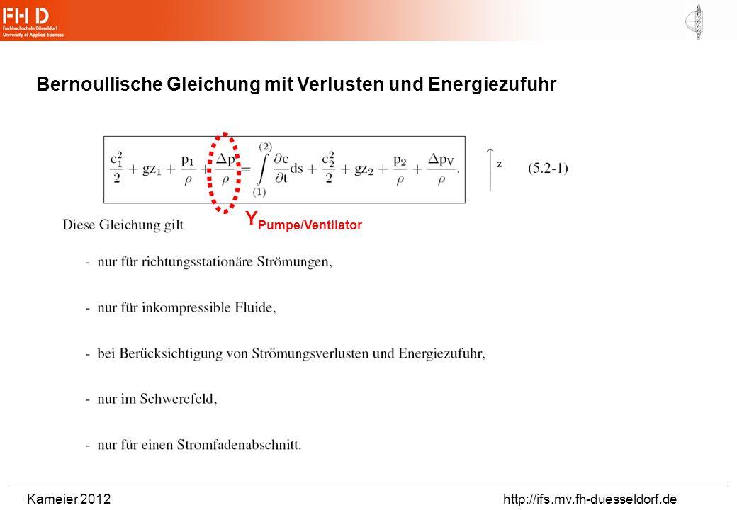 Bernoullische Gleichung mit Verlusten und Energiezufuhr
