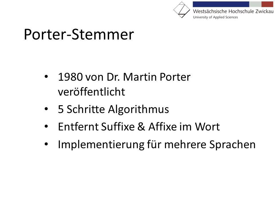 Porter-Stemmer 1980 von Dr. Martin Porter veröffentlicht
