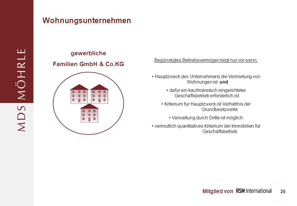 Wohnungsunternehmen gewerbliche Familien GmbH & Co.KG