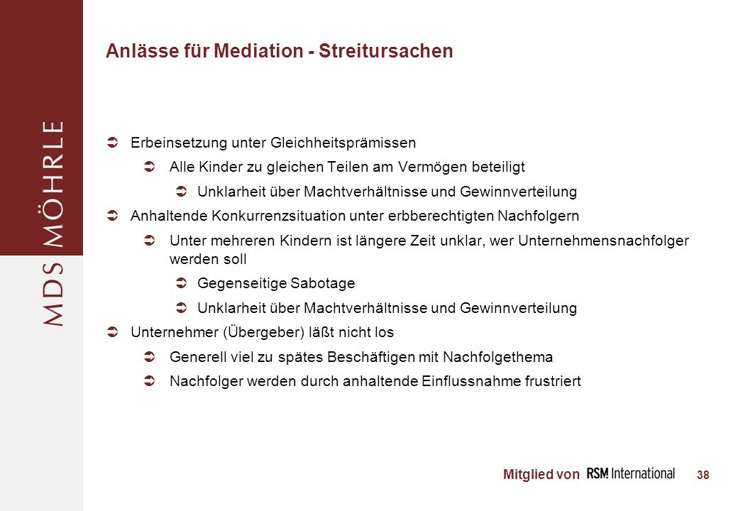 Anlässe für Mediation - Streitursachen