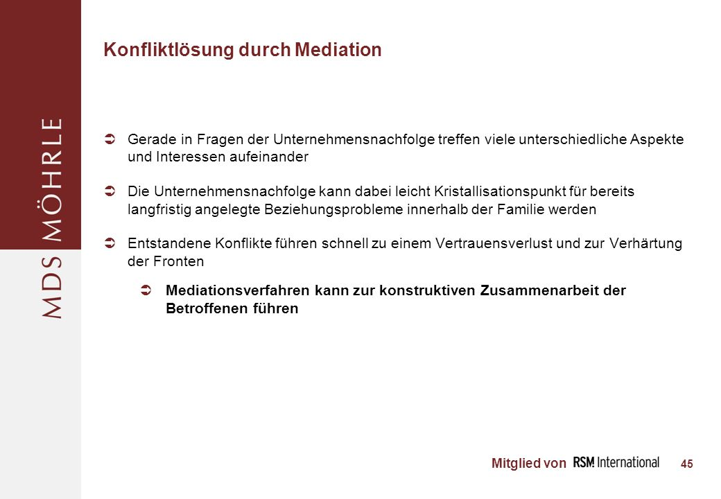 Konfliktlösung durch Mediation