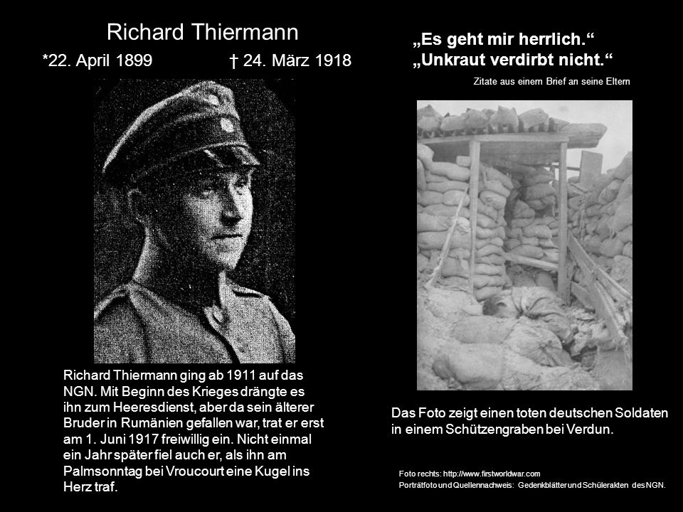 """Richard Thiermann """"Es geht mir herrlich. """"Unkraut verdirbt nicht."""
