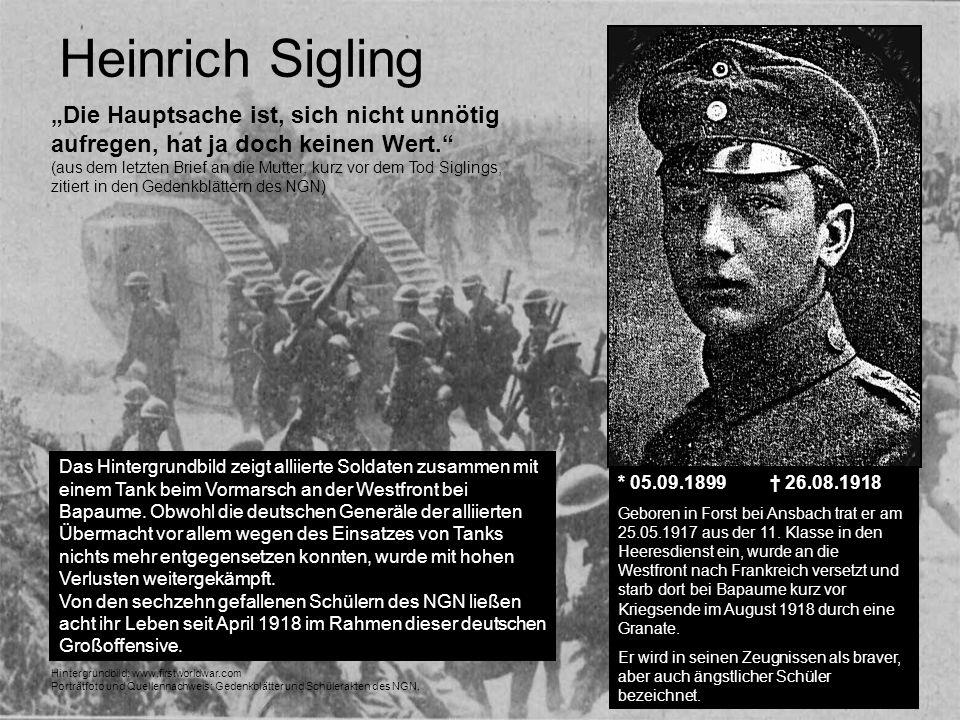 """Heinrich Sigling """"Die Hauptsache ist, sich nicht unnötig aufregen, hat ja doch keinen Wert."""