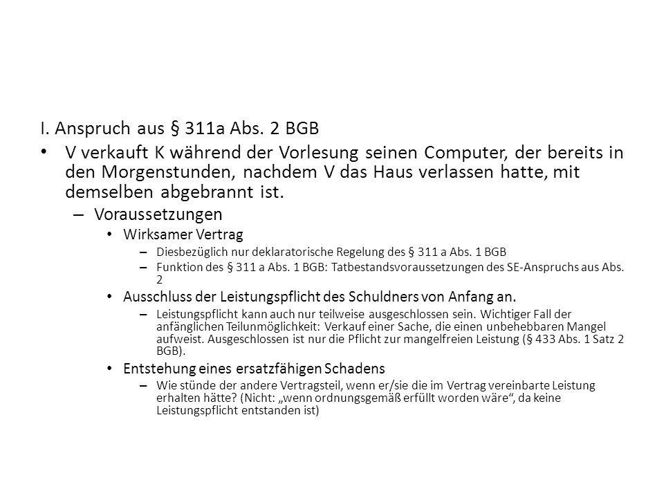 I. Anspruch aus § 311a Abs. 2 BGB