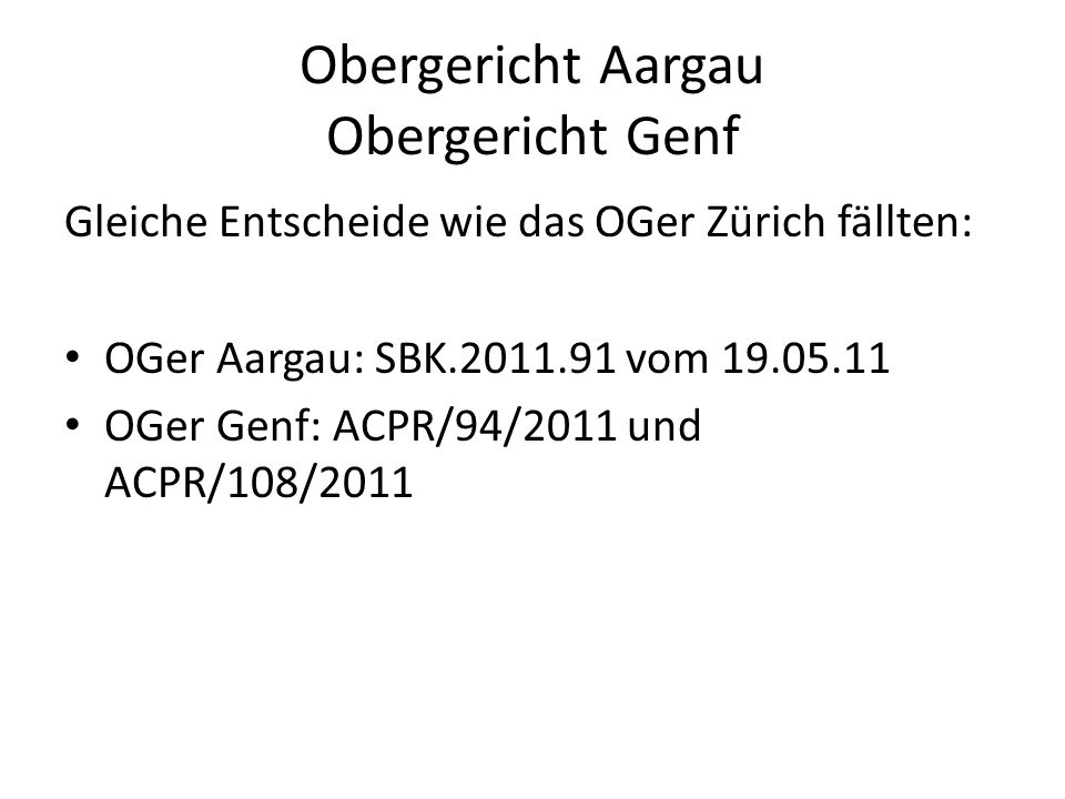 Obergericht Aargau Obergericht Genf