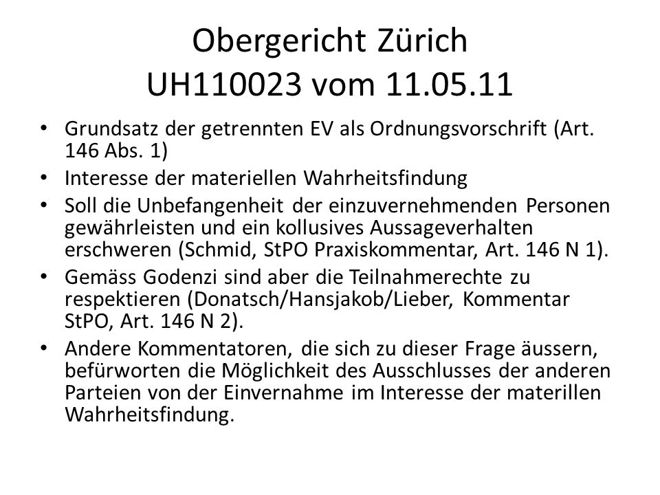 Obergericht Zürich UH110023 vom 11.05.11