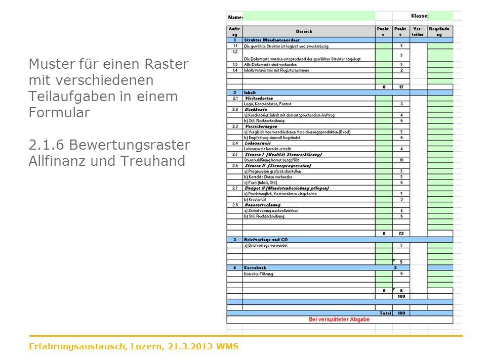 Muster für einen Raster mit verschiedenen Teilaufgaben in einem Formular 2.1.6 Bewertungsraster Allfinanz und Treuhand