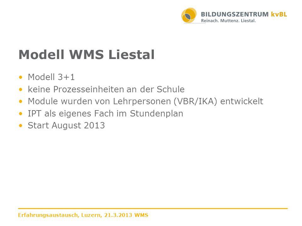 Modell WMS Liestal Modell 3+1 keine Prozesseinheiten an der Schule