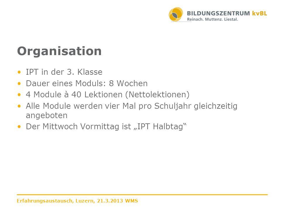 Organisation IPT in der 3. Klasse Dauer eines Moduls: 8 Wochen