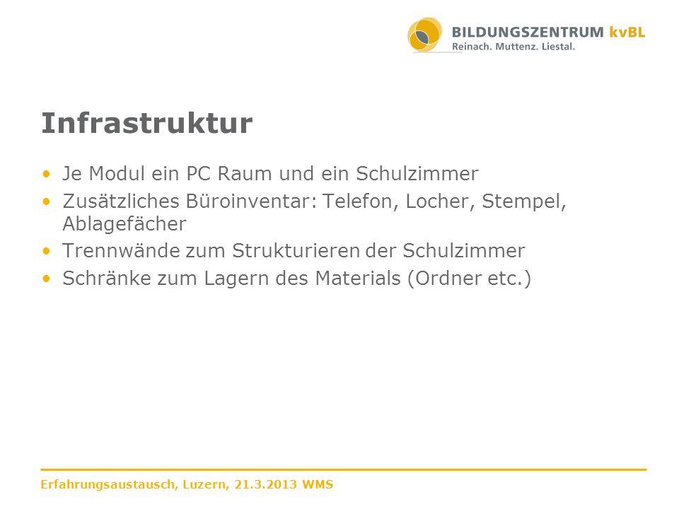 Infrastruktur Je Modul ein PC Raum und ein Schulzimmer