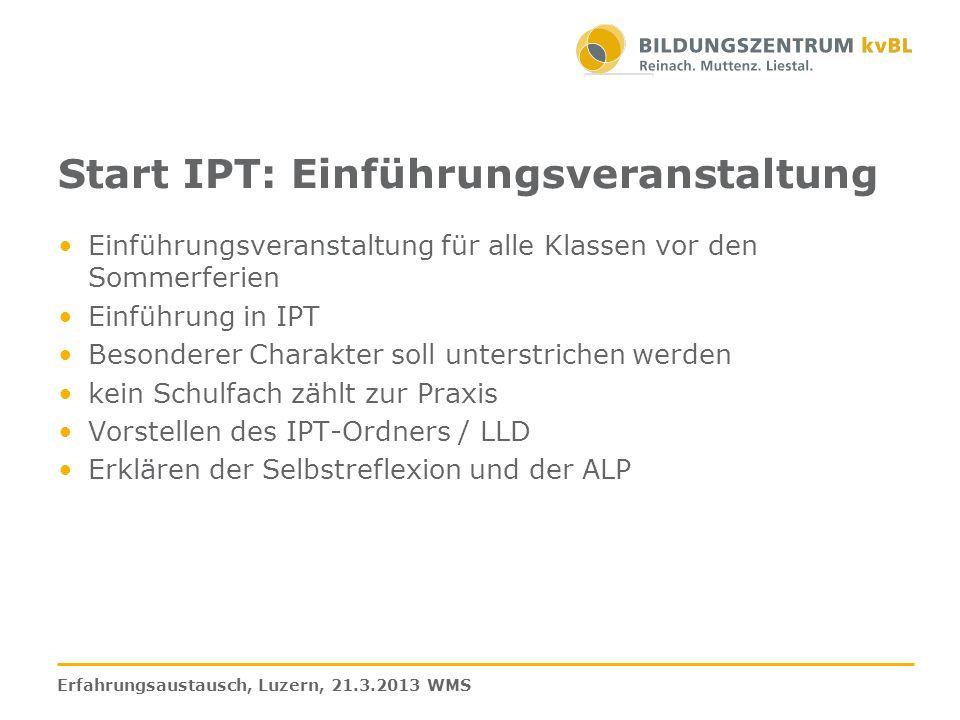 Start IPT: Einführungsveranstaltung