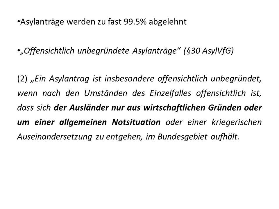 Asylanträge werden zu fast 99.5% abgelehnt