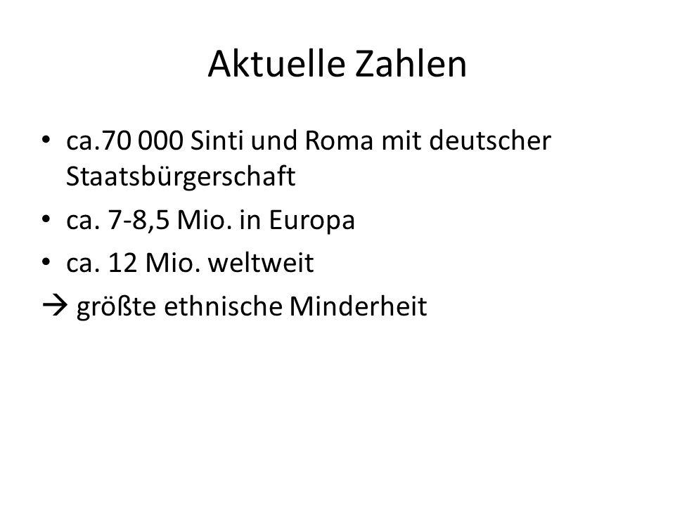 Aktuelle Zahlen ca.70 000 Sinti und Roma mit deutscher Staatsbürgerschaft. ca. 7-8,5 Mio. in Europa.