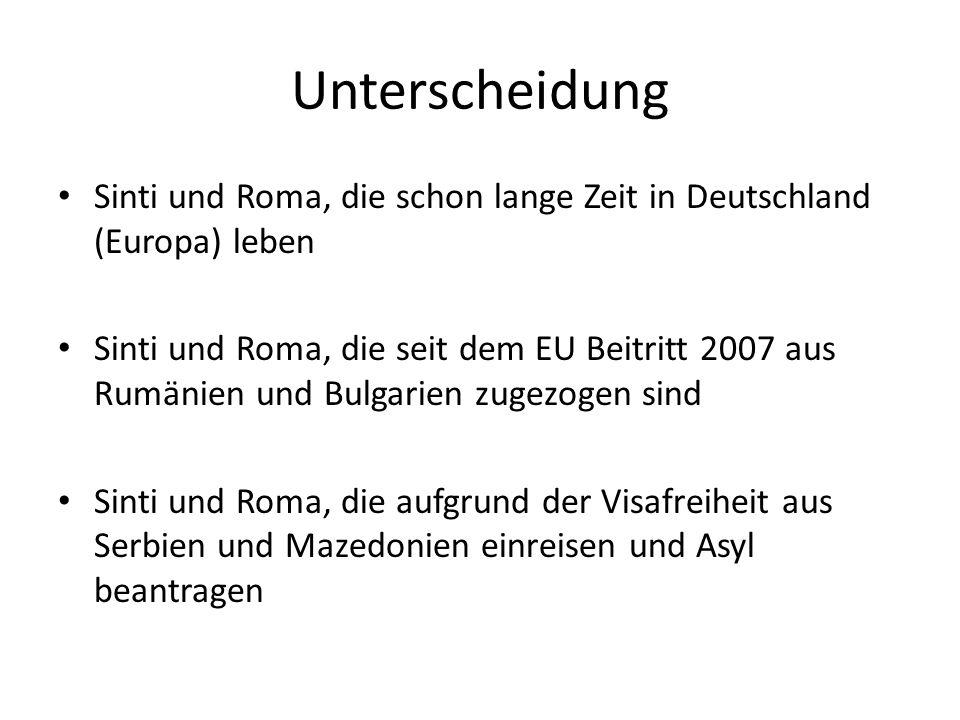 Unterscheidung Sinti und Roma, die schon lange Zeit in Deutschland (Europa) leben.