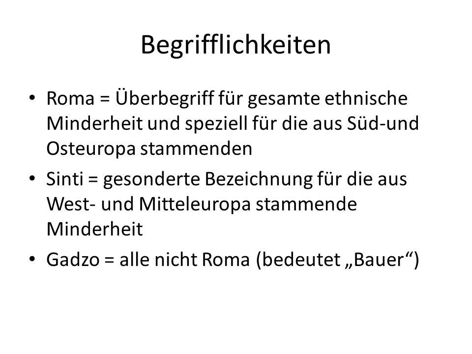 Begrifflichkeiten Roma = Überbegriff für gesamte ethnische Minderheit und speziell für die aus Süd-und Osteuropa stammenden.