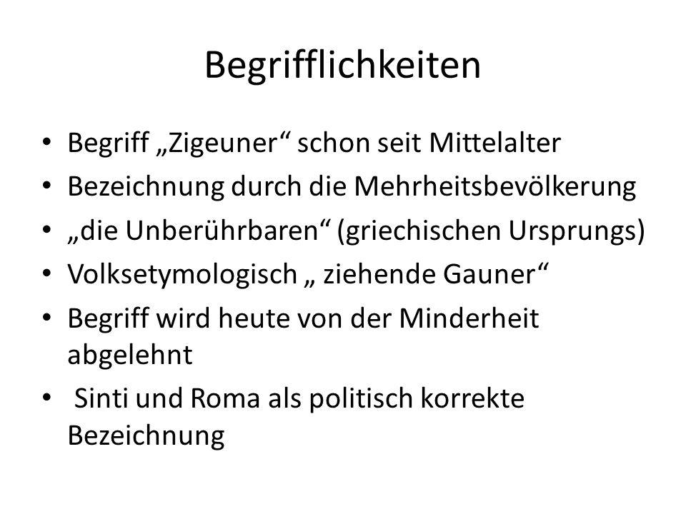 """Begrifflichkeiten Begriff """"Zigeuner schon seit Mittelalter"""