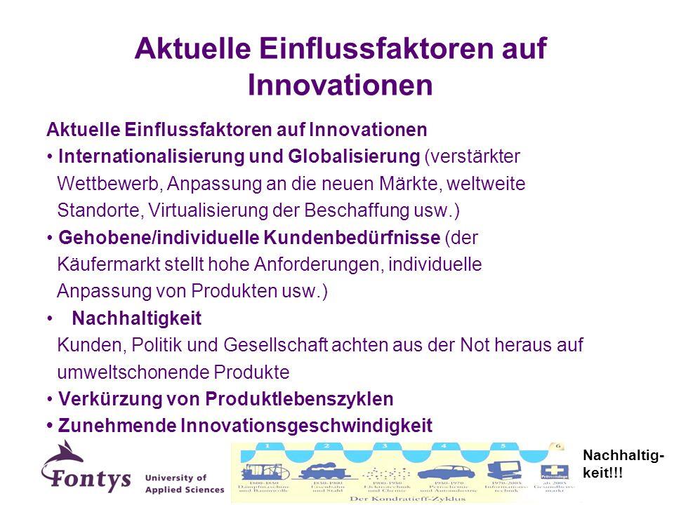 Aktuelle Einflussfaktoren auf Innovationen