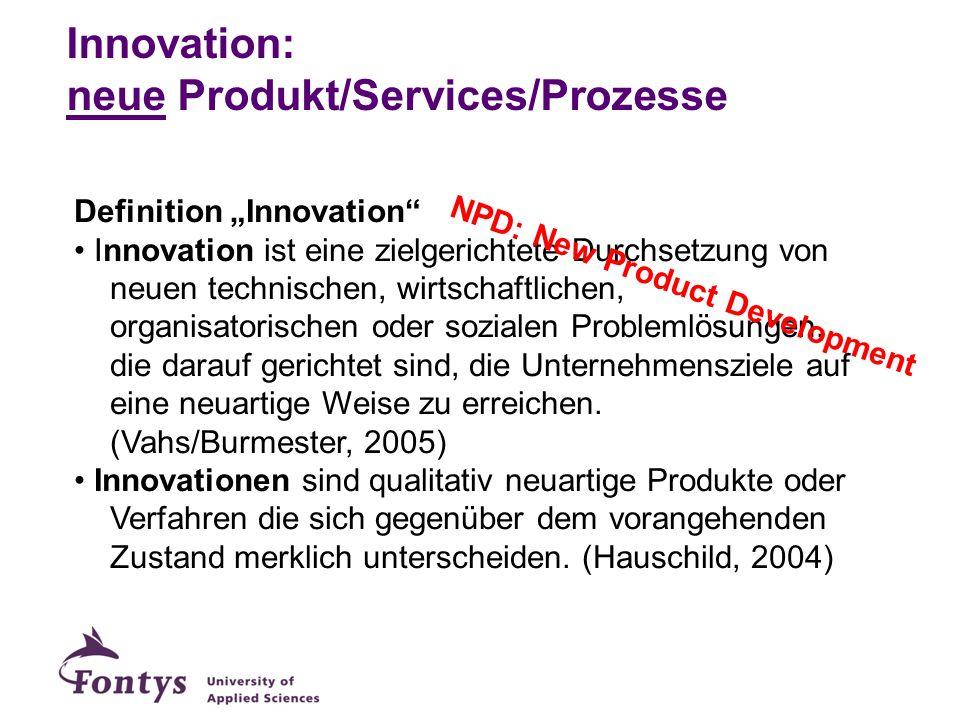 Innovation: neue Produkt/Services/Prozesse