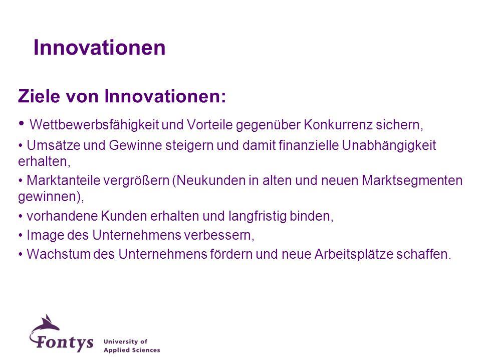 Innovationen Ziele von Innovationen: