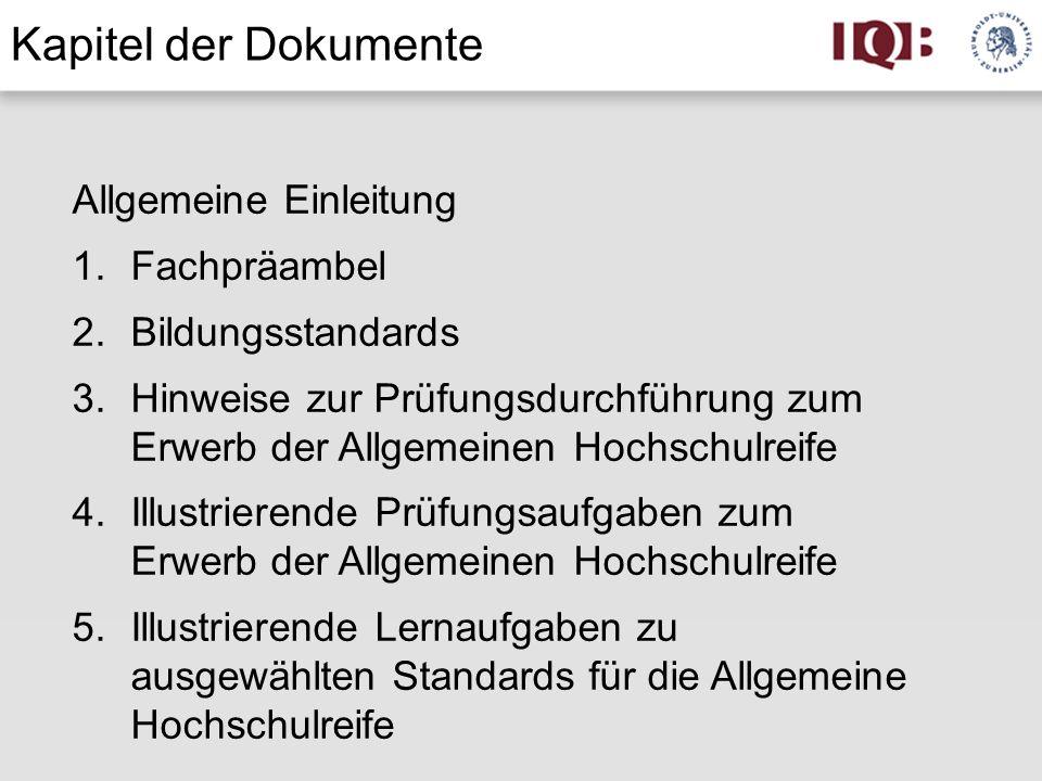 Kapitel der Dokumente Allgemeine Einleitung Fachpräambel